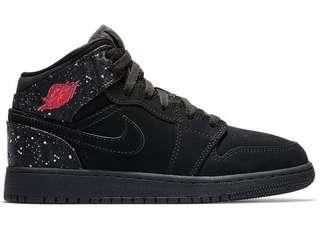 "Nike Air Jordan 1 Mid (GS) ""Black Rush Pink White Splatter"" EUR37.5"