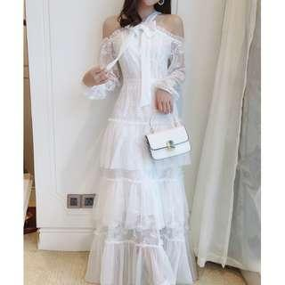Dress Collection - Gorgeous Sweet France Style Romantic Long Sleeves Long White Dress