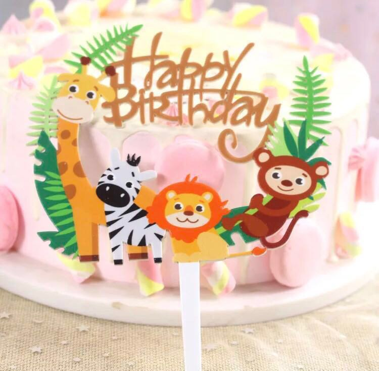 1 11 Happy Birthday Safari Animal Jungle Theme Cake Topper Free Normal Mail Design Craft Others On Carousell