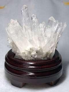 天然白水晶簇連木座(118*70*97.5mm)
