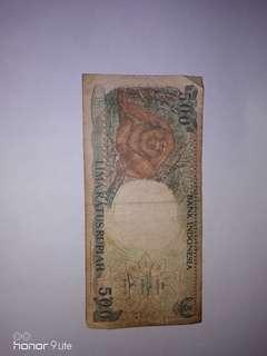 Uang Lama 500 rupiah kertas 1992