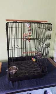 Bird Cage with toys, perch and bird food including exact formula