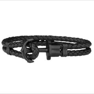 🚚 PAUL HEWITT 德國🇩🇪出品 PHEREP黑色皮革 黑色船錨⚓️ 手環手鍊。SIze:21cm