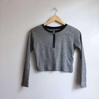 Ribbed Gray Front Zipper Semi Crop Top
