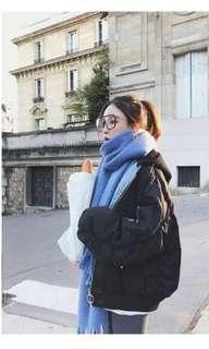 出清 雙面穿設計保暖舖棉連帽外套/藍黑