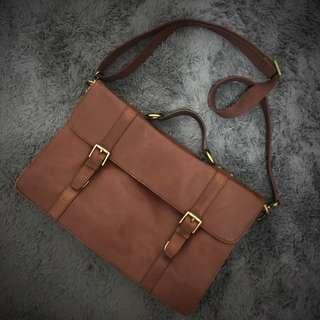 Fossil Leather Messenger Briefcase Bag