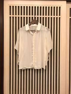正韓 米色雪紡衫