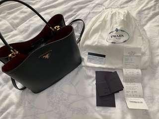 8c12e8e93c7 Prada Double Saffiano Leather Bag - Black/Fiery Red