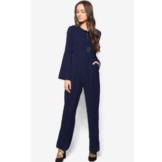 🚚 Zalia Womens Lace Up Palazzo Jumpsuit (Navy)