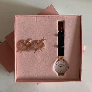 🚚 Mockberg Leather Watch and Earring Set