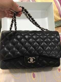 ORIGINAL Chanel Single flap jumbo lambskin black