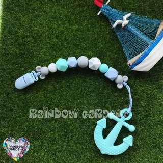 Handmade customised silicone pastel beads Pacifier Clip + Turquoise blue Anchor Teether Combo
