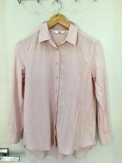 uniqlo rayon long sleeve blouse pink