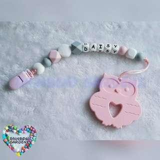 Customized Pacifier Clip with letter beads + Pastel Pink Owl Teether
