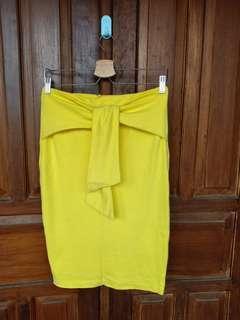 Span Midi Pita Kuning / Tie Skirt Midi Yellow