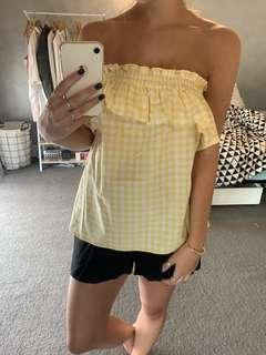 Yellow Gingham Strapless Top