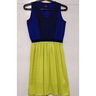Plains and Prints Navy/Royal Blue and Neon Green Dress