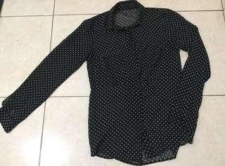 black Polkadot shirt
