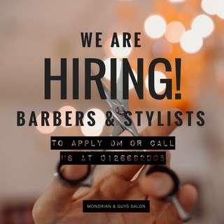 Barber hairstylist shampoo girl wanted