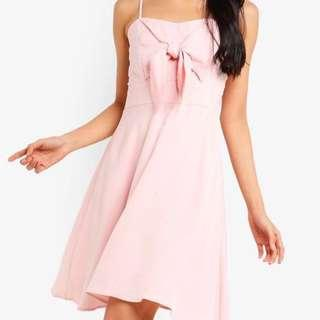 🚚 Tie Front Flare Dress in Pink ZALORA