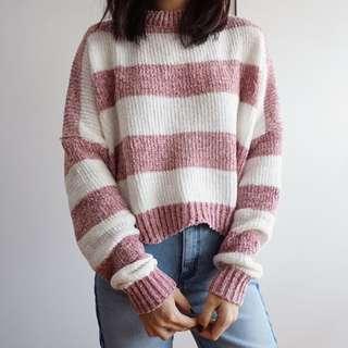 🚚 Chenille Stripe Sweater (Blush Pink)