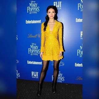 New Alexis Yellow Lace ruffle dress