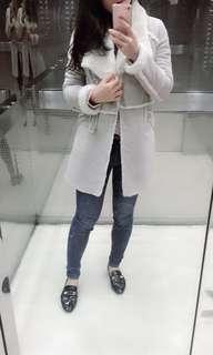 🚚 正韓 麂皮大衣 米白