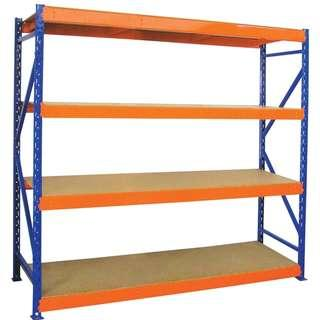 Longspan 12mm HDF Board Shelving Rack (Blue/Orange)