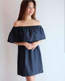 NEW. HTP Denim Ruffle Off-shoulder Dress