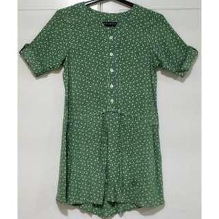 Preloved. Green Tiny Floral Print 3/4 Dress
