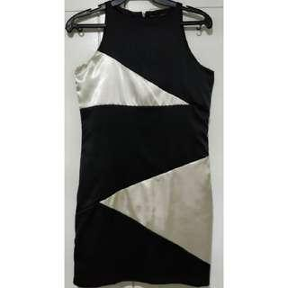 Folded and Hung Black and White Sleeveless Cocktail Dress