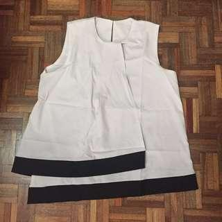 Black & white sleeveless top