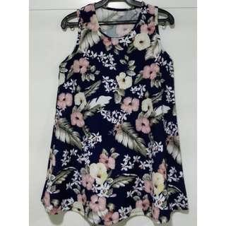 HTP Navy Blue and Pink Big Floral Print  Sleeveless Trapeze Dress