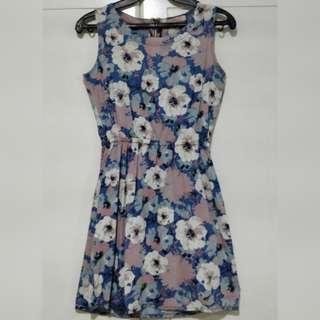 Crissa Blue and Pink Sleeveless Dress