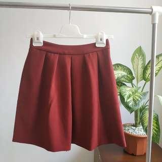 Stradivarius Red Flare Skirt