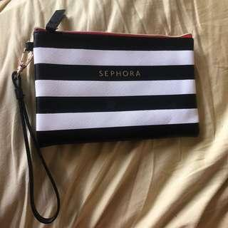 leather striped makeup pouch