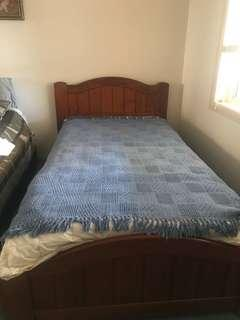 King Single Timber Bed with Mattress and Bedside Table
