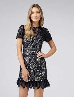 ORI Forever new austin fit and flare lace dress in navy