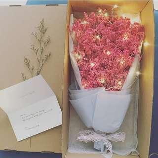 ✨「Romantic Galaxy」🌹Korean Dried Flower Bouquet➕flower box➕greeting card✨with/without fairy lights