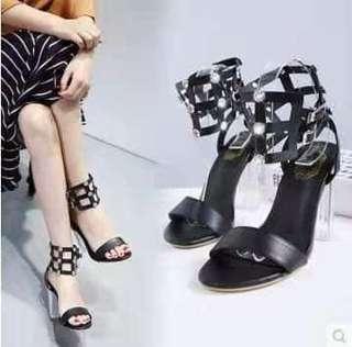 Black Strappy Sandals Lucite Heels size 36 37