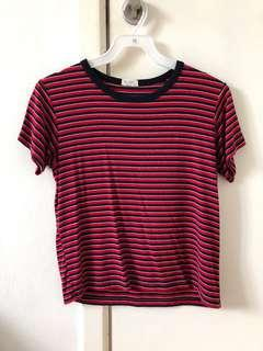 🚚 brandy melville red blue striped top