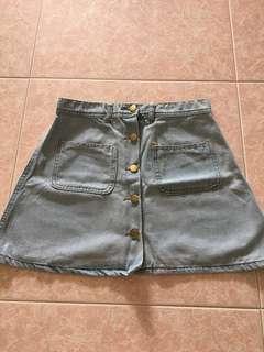 Light Blue Denim Button Down Skirt