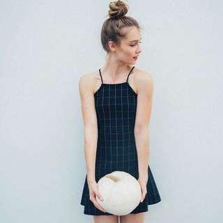 BN Inspired Black Grid Halter Dress