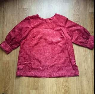 Red Blouse Woman Top