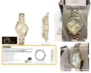 SALE!!! FOSSIL SCARLETTE MINI THREE-HAND DATE GOLD-TONE STAINLESS STEEL WATCH