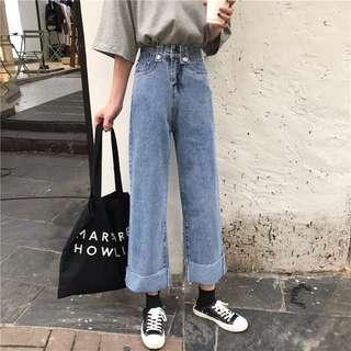 🚚 ☻ ʟɪᴢᴅᴀsʜᴏᴘ 🛒韓版復古百搭牛仔褲學生寬鬆顯瘦闊腿褲直筒褲九分褲「Y03020816」