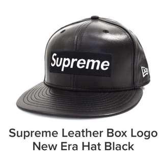 🚚 Supreme 7 1/8 Leather box logo new era black