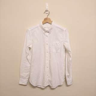 無印良品 女有機棉水洗牛津布扣領白色襯衫