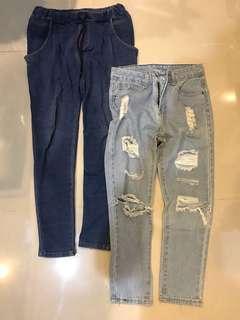 鬆緊綁帶休閒褲/破舊牛仔褲 兩件100