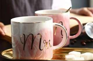 MARBLE CERAMIC COUPLE MUGS WITH GOLD PLATING